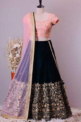 Black Color Taffeta Silk With Embroidery Work Lahenga Choli With Dupatta