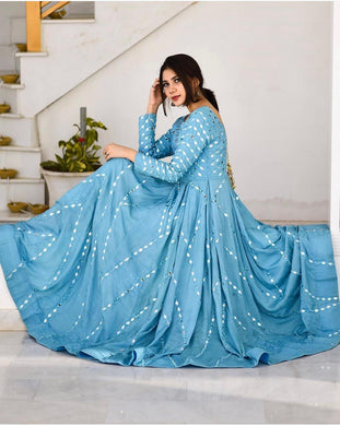 Skyblue Color Party Wear Silk Material Designer Embroidar Work Gown