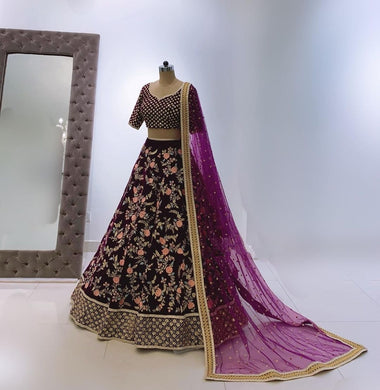 Wine Color Perfect Look Heavy Velvet With Embroidered Work Attractive Look Lhengha Choil