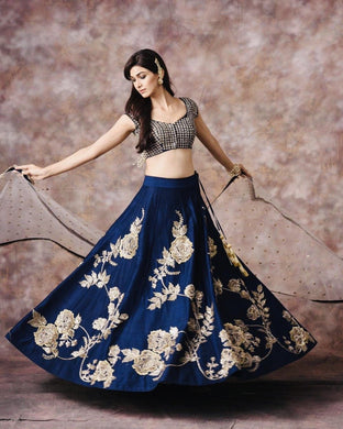 Blue Color Test Heavy Embroidery Work Lehenga Choli With Dupatta
