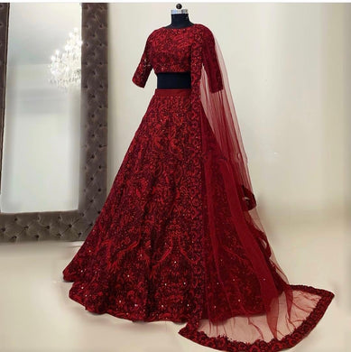 Red Color Party Wear Wedding New Taffeta Silk Embroidered Lehenga Choli