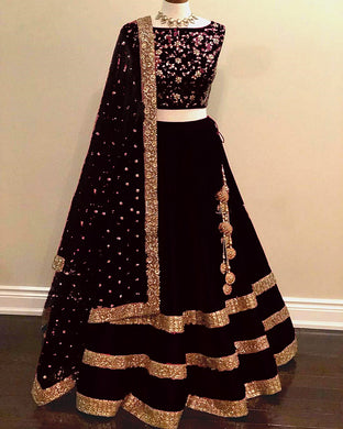 Black Color Taffeta Silk Material Embroidary Work Designer Lengha Choli