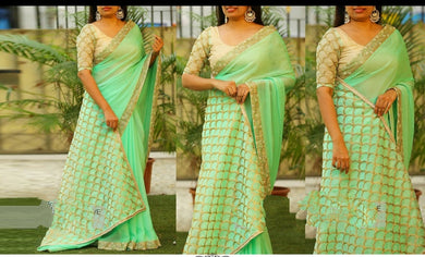 New Collection Marbal Silk Fancy Thread Work Saree