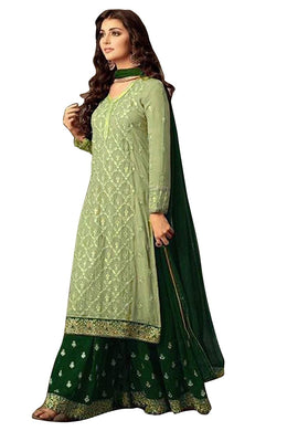 Green Exclusive Bollywood Faux Georgette Embroidered Salwar Kameez Plazzo Suit