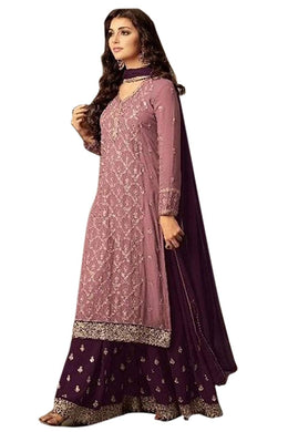 Purple Bollywood Faux Georgette Embroidered Salwar Kameez Plazzo Suit
