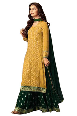 Exclusive Yellow Bollywood Faux Georgette Embroidered Salwar Kameez Plazzo Suit
