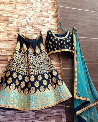Wedding Heavy Bridal Blue Color Taffeta Silk Embroidered Lehenga Choli