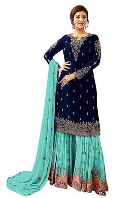 Awesome Blue Color Faux Georgette Embroidered Salwar Kameez Plazzo Suit