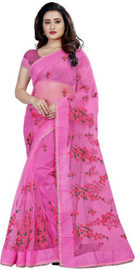 Baby Pink Color Attractive Wedding Soft Net Embroidered Saree