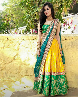 Yellow Color Wedding Party Wear Tafeta Silk Circular Lehenga Choli