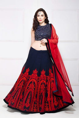 Bollywood Red And Blue Color Heavy Georgette Sequance Embroidery Work Lehenga Choli