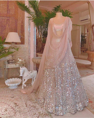 Peach Color Embroidery Heavy Net Lengha Choli With Duptta