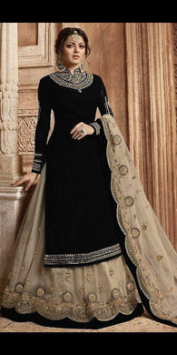 Christmas Black Color Party Wear Faux Georgette With Embroidery Plazzo Suit