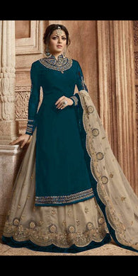 Designer Rama Green Color Faux Georgette With Embroidery Plazzo Suit