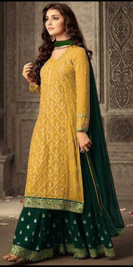 Attractive Yellow Color Faux Georgette Heavy Bridal Embroidered Plazzo Suit