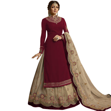 Exclusive Designer Maroon Color Bollywood Heavy Faux Georgette Embroidered Plazzo Suit