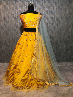 Yellow Color Premium Tapeta Silk Wedding Designer Anarkali Lehenga Choli