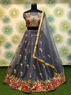 Grey Color Heavy Net Embroidered Circular Anarkali Semi Stitched Lehenga Choli