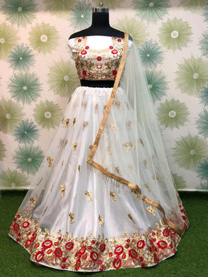White Color Heavy Net Embroidered Circular Anarkali Semi Stitched Lehenga Choli