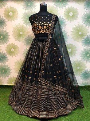 Black Color Wedding Traditional Party Net Embroidered Lehenga Choli