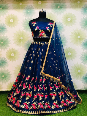 Wedding Festival Blue Color Traditional Heavy Net Embroidered Lehenga Choli