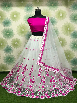 Pink Color Wedding Party Net Embroidered Semi Stitched Lehenga Choli