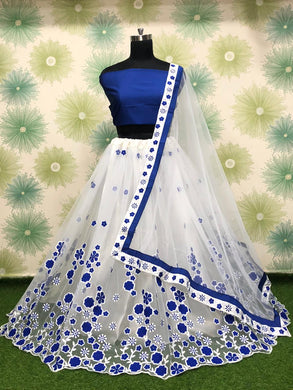 Royalblue Color Wedding Party Net Embroidered Semi Stitched Lehenga Choli