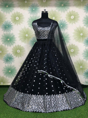 Black Color Heavy Net Embroidery Sequins Work Semi Stitch Lehenga Choli