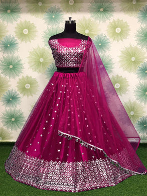 Gajari Color Heavy Net Embroidery Sequins Work Semi Stitch Lehenga Choli