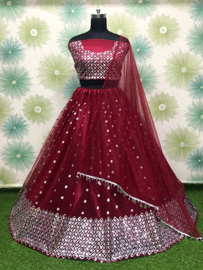 Maroon Color Heavy Net Embroidery Sequins Work Semi Stitch Lehenga Choli