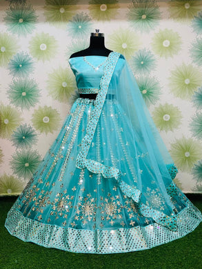 Skyblue Color Heavy Net Embroidery Lahegha Choli With Duptta
