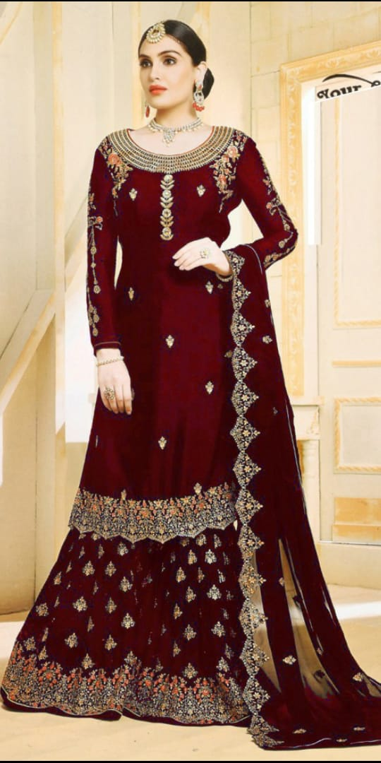 Wedding Traditional Maroon Color Georgette Embroidered Plazzo Suit