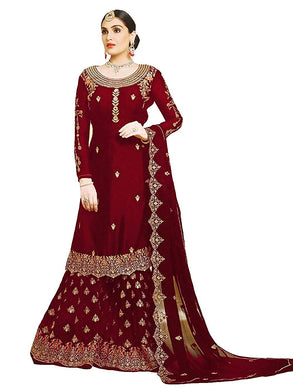 Exclusive Designer Wedding Traditional Maroon Color Georgette Embroidered Plazzo Suit