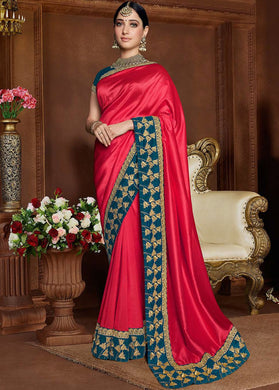 Bollywood Red Party Sari Indian Wedding Rangoli Silk Festival Traditional Saree