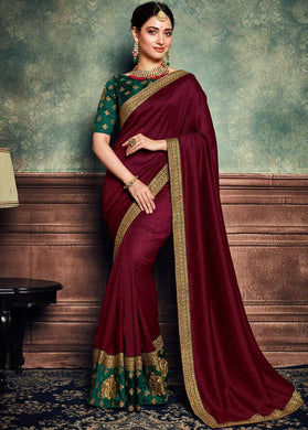 Designer Maroon Wedding Casual Bollywood Rangoli Silk Party Wear Ethnic Sari