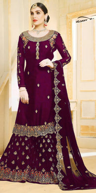 Indian Ethnic Wear Wine Color Heavy Faux Georgette Embroidered Plazzo Suit
