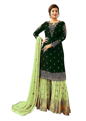 Party Wear Bollywood Green Color Faux Georgette Embroidered Salwar Kameez Plazzo Suit