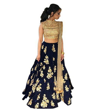 Navyblue Satin Banglory Silk Semi Stitched Embroidery Lehenga Choli