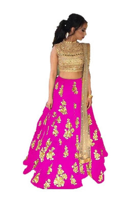 Pink Satin Banglory Silk Semi Stitched Embroidery Lehenga Choli