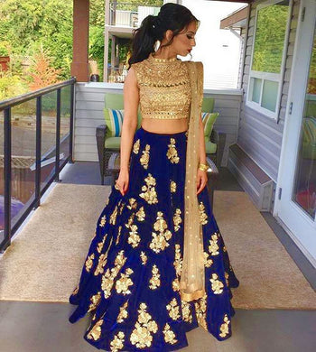 Royal Blue Satin Banglory Silk Semi Stitched Embroidery Lehenga Choli