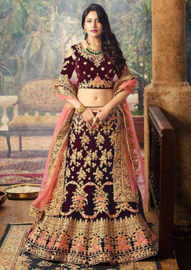 Party Wear Wine Color Bridal Velvet Heavy Embroidered Lehenga Choli