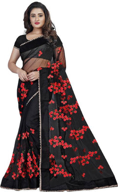 Black Soft Net New Embroidered Ustitched Saree With Blouse