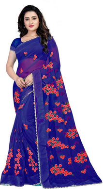 Blue Soft Net New Embroidered Ustitched Saree With Blouse