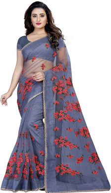 Grey Soft Net New Embroidered Ustitched Saree With Blouse