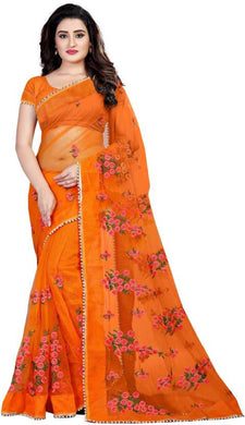 Orange Soft Net New Embroidered Ustitched Saree With Blouse