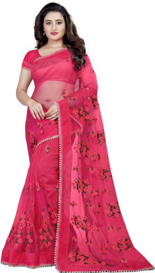 Pink Soft Net New Embroidered Ustitched Saree With Blouse