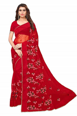 Red Soft Net New Embroidered Ustitched Saree With Blouse