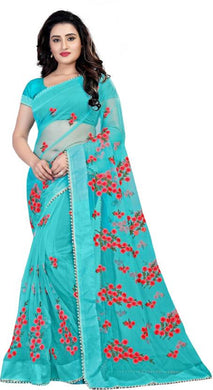 Skyblue Soft Net New Embroidered Ustitched Saree With Blouse