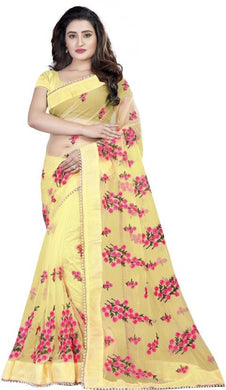 Yellow Soft Net New Embroidered Ustitched Saree With Blouse