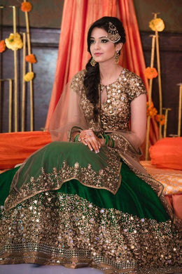Indian Traditional Taffeta Silk Embroidered Green Lehenga Choli With Real Mirror Work
